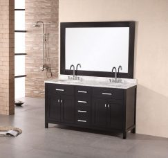 61 Inch Modern Double Sink Bathroom Vanity With Four Doors And Four Drawers