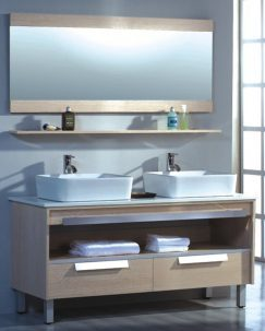 55.5 Inch Double Sink Bathroom Vanity with Matching Mirror