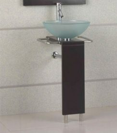 17 Inch Modern Bathroom Vanity With Glass Vessel Sink