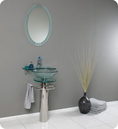 20.75 Inch Modern Glass Bathroom Vanity with Frosted Edge Mirror