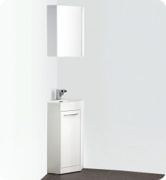 Nice 14 Inch White Modern Corner Bathroom Vanity With Optional Medicine Cabinet