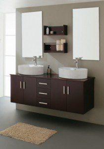 59 Inch Modern Double Sink Espresso Bathroom Vanity with Vessel Sinks