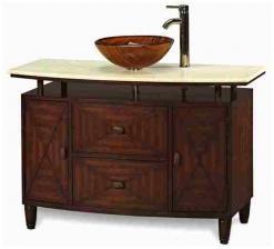48 Inch Single Vessel Sink Bathroom Vanity With Antique Brown Finish