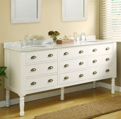 70 Inch Double Sink Vanity in Pearl White