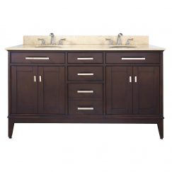60 Inch Double Sink Bathroom Vanity with Choice of Countertop
