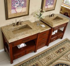 92 Inch Double Sink Vanity with Natural Cherry Finish and Kashmir Gold Granite