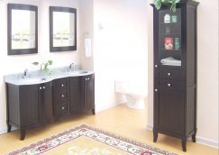 60 Inch Double Sink Bathroom Vanity with Dark Mahogany Finish and White Marble Counter Top