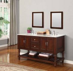 60 Inch Mission Style Double Sink Vanity in Espresso