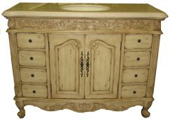 48 Inch Single Sink Bathroom Vanity with Golden Ivory Marble
