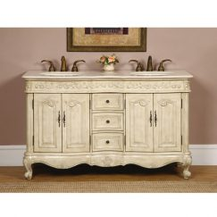 58 Inch Double Sink Bathroom Vanity in Antique White Finish