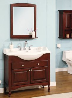 38 inch single sink narrow depth furniture bathroom vanity with choice of finish and sink - Shallow Bathroom Vanity