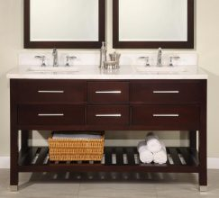 60 Inch Double Sink Modern Cherry Bathroom Vanity With Open Shelf And Choice Of Counter Top