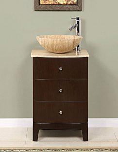 20 Inch Vessel Sink Bathroom Vanity in Walnut & Small Bathroom Cabinet: The Storage Situation