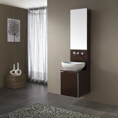16 Inch Single Sink Bathroom Vanity with White Vessel Sink and Mirror
