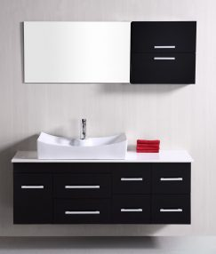 The Floating Wall Mounted Bathroom Vanity on fireplace against wall, cabinet against wall, dresser against wall, laminate flooring against wall, mirror against wall, wet bar against wall, desk against wall, windows against wall, counter top against wall,