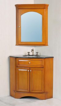 28 Inch Corner Single Sink Vanity with Black Galaxy Granite Top and Mirror