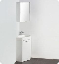 18 Inch White Modern Corner Bathroom Vanity with Optional Medicine Cabinet