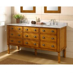 70 Inch Mission Style Double Sink Vanity with Carerra White Marble