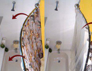 Rotating shower curtain rod