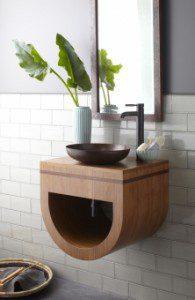 23 Inch Single Sink Bath Vanity in Caramel Bamboo