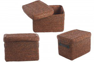 Decorative Brown Wicker Basket With Lid