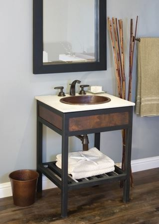 copper open shelf vanity