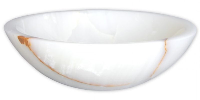 White Translucent Onyx Vessel Sink