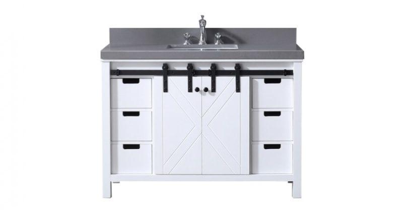 48 Inch Single Sink Bathroom Vanity in White with Barn Door Style Doors