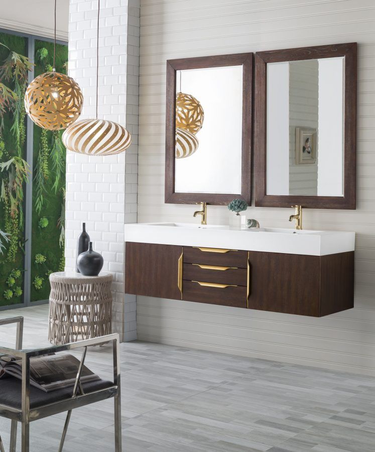 59 Inch Double Sink Bathroom Vanity in Coffee Oak with Radiant Gold Pulls