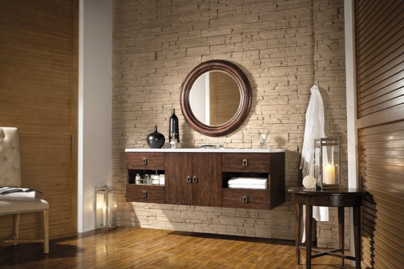 60 Inch Double Sink Bathroom Vanity in Coffee Oak with Top Choice