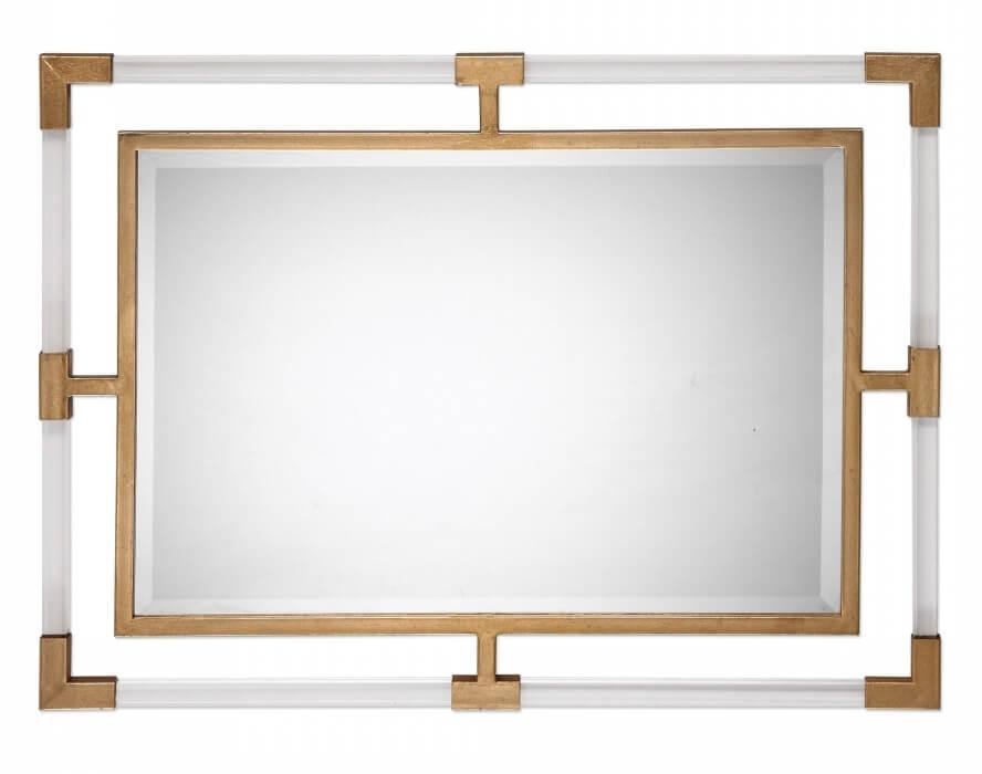 Balkan Modern Gold Wall Rectangular Mirror