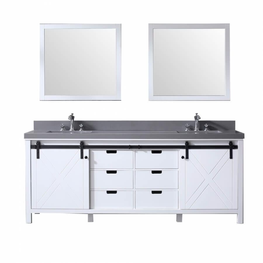 84 Inch Double Sink Bathroom Vanity in White with Barn Door Style Doors
