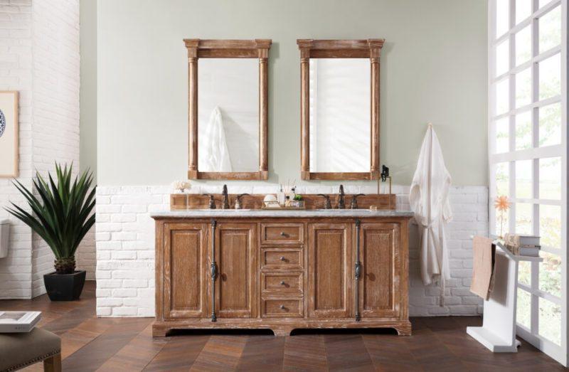 72 Inch Double Sink Bathroom Vanity in Driftwood
