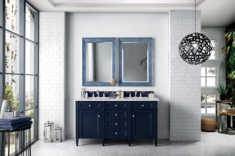 60 Inch Double Sink Bathroom Vanity in Victory Blue with Choice of Top