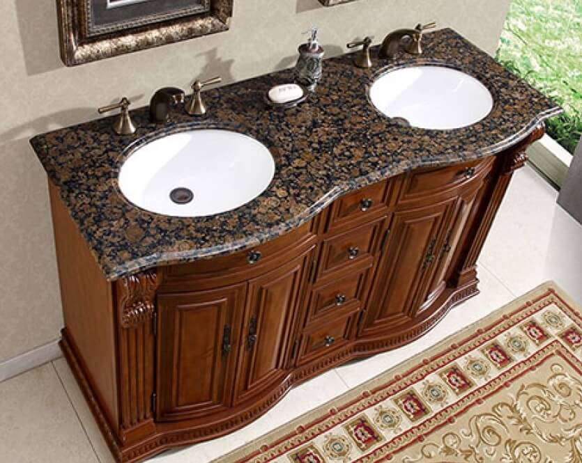 55 Inch Double Sink Vanity with Baltic Brown Top