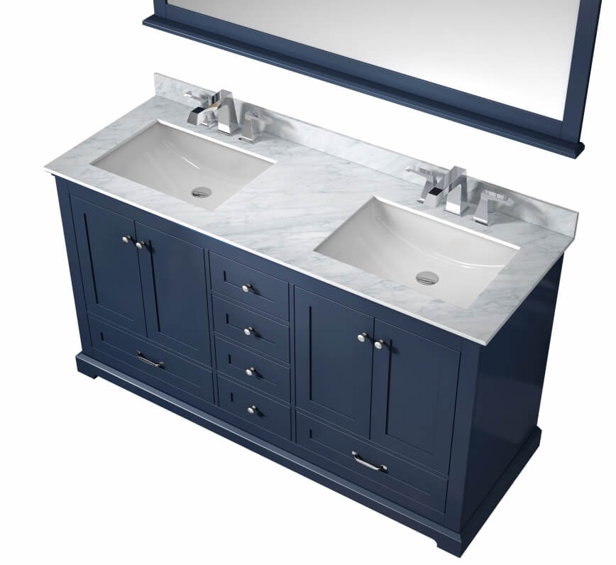 60 Inch Double Sink Bathroom Vanity in Navy Blue with White Marble