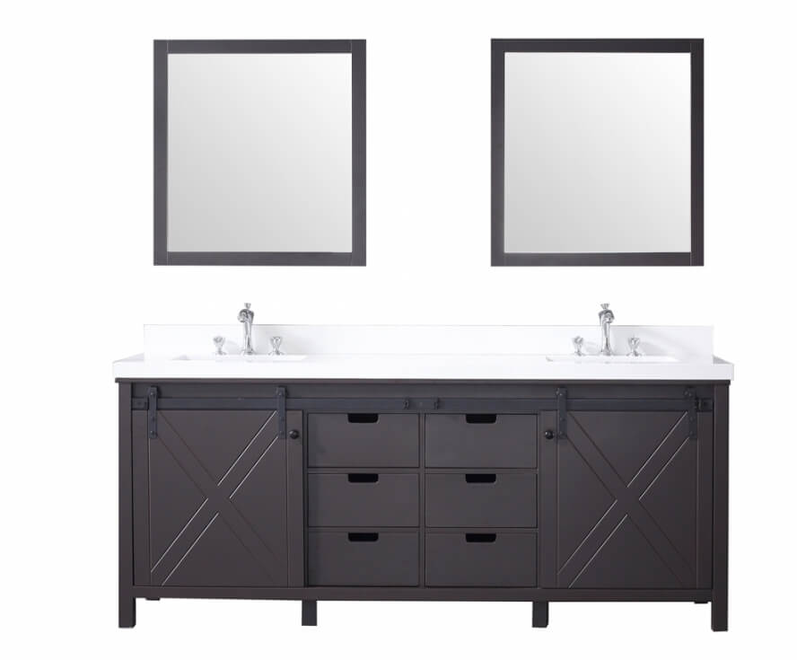 80 Inch Double Sink Bathroom Vanity in Brown with Barn Door Style Doors