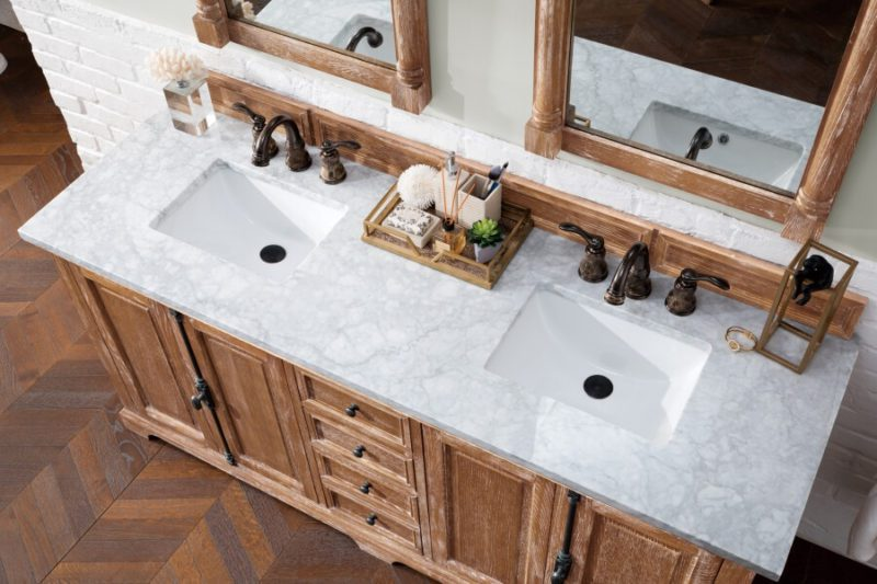 72 Inch Double Sink Bathroom Vanity in Driftwood with White Marble