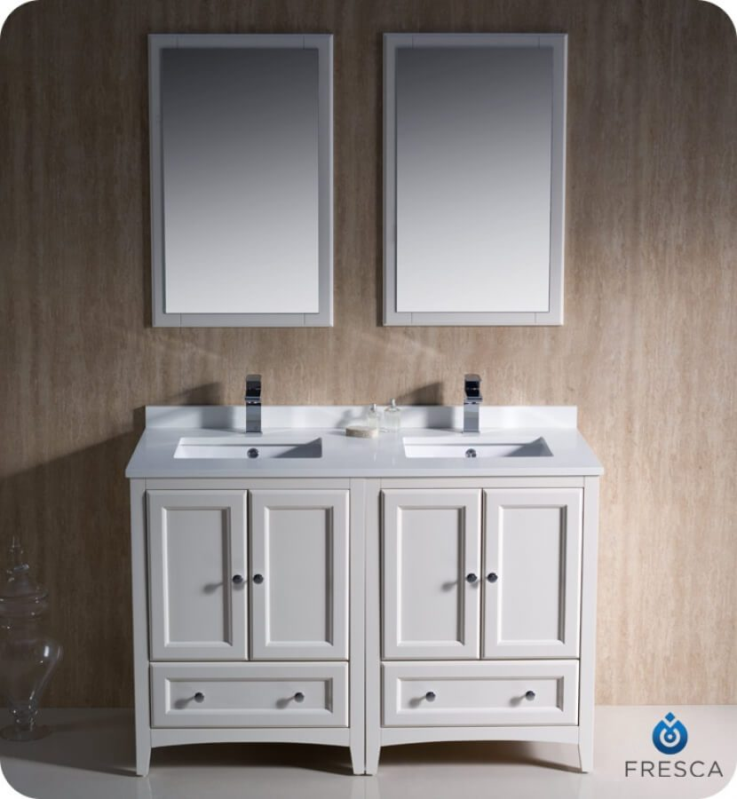 48 Inch Double Sink Bathroom Vanity in Antique White