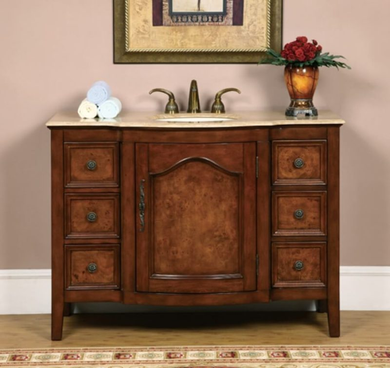 48 Inch Antique Two-Tone Single Sink Vanity