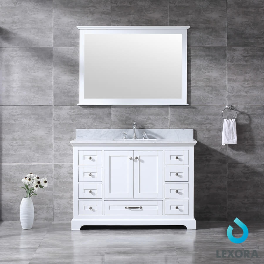 48 Inch Single Sink Bathroom Vanity in White with Choice of No Top