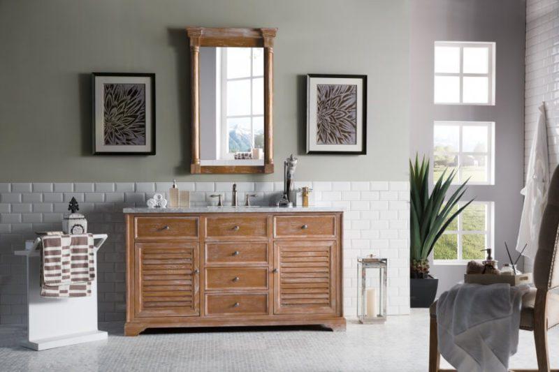 60 Inch Single Sink Bathroom Vanity in Driftwood Finish