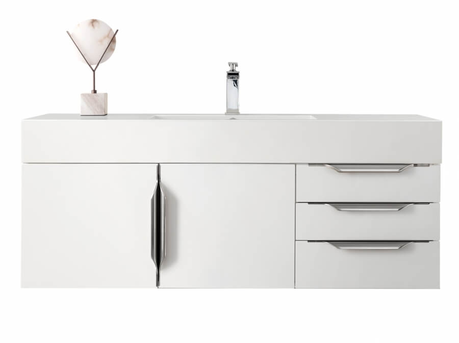 48 Inch Single Sink Bathroom Vanity in Glossy White with Electrical Component