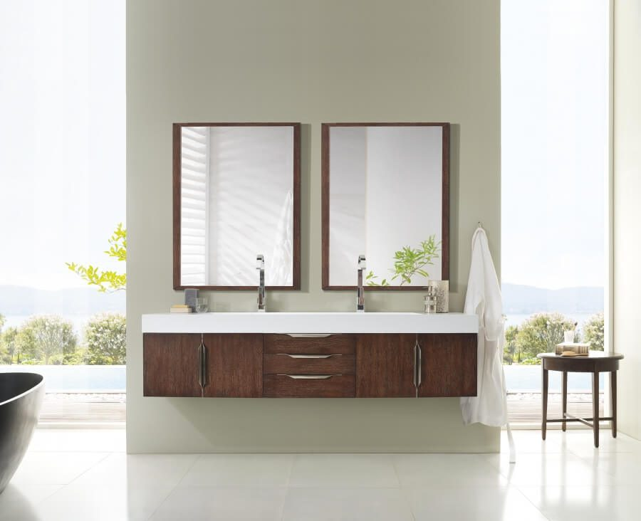 73 Inch Double Sink Bathroom Vanity in Coffee Oak with Solid Surface Top