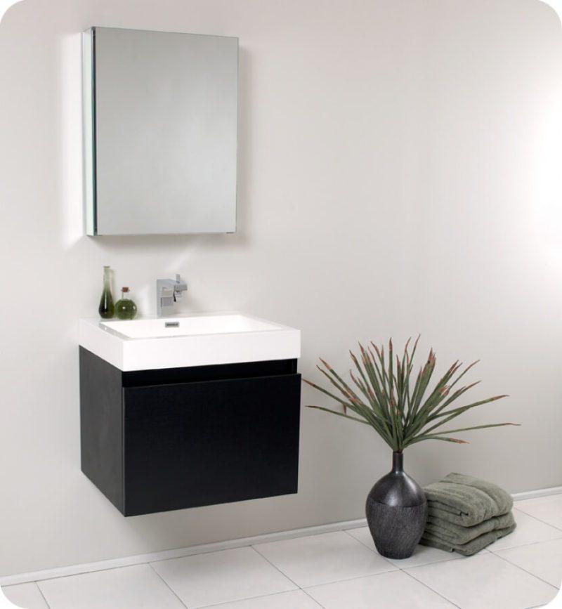 23.5 Inch Black Modern Bathroom Vanity with Medicine Cabinet