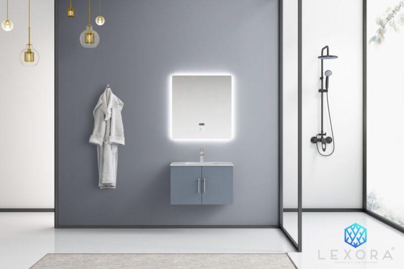 30 Inch Single Sink Wall Mounted Bathroom Vanity in Dark Gray