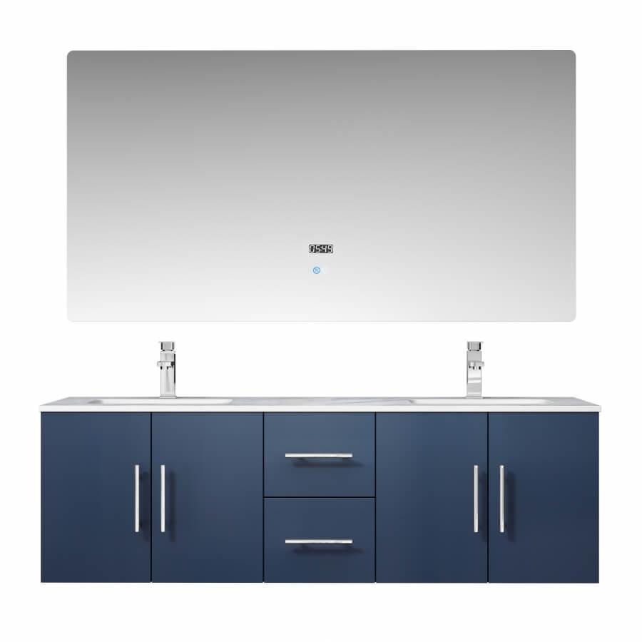 60 Inch Double Sink Wall Mounted Bathroom Vanity in Navy Blue