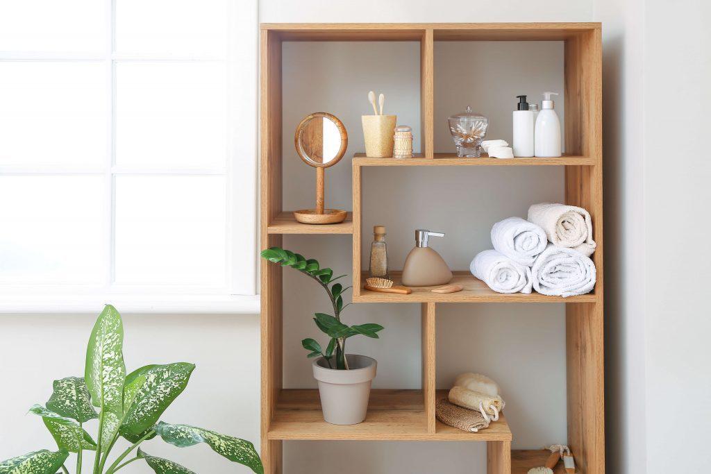 open shelf bathroom storage