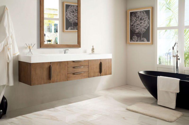 73 Inch Single Sink Bathroom Vanity in Latte Oak