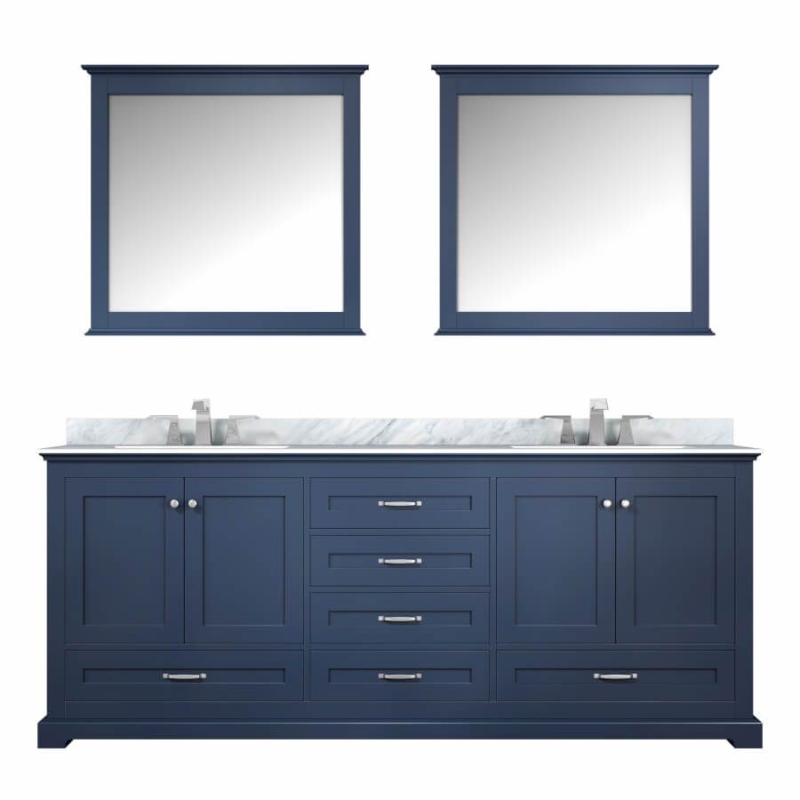 80 Inch Double Sink Bathroom Vanity in Navy Blue